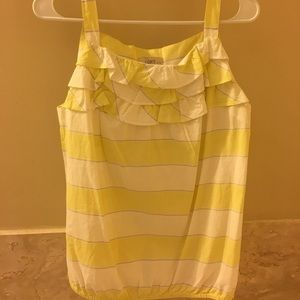 Loft yellow and white tank top